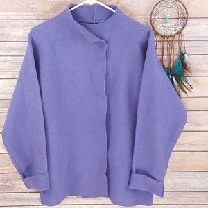 Eileen Fisher Boiled Wool Jacket Purple Boxy Sz S